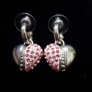 Brighton breast cancer heart earrings